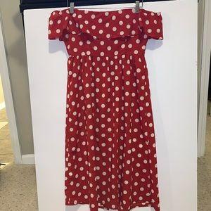 Missguided Dresses - Off-The-Shoulder Ruffle Midi Dress
